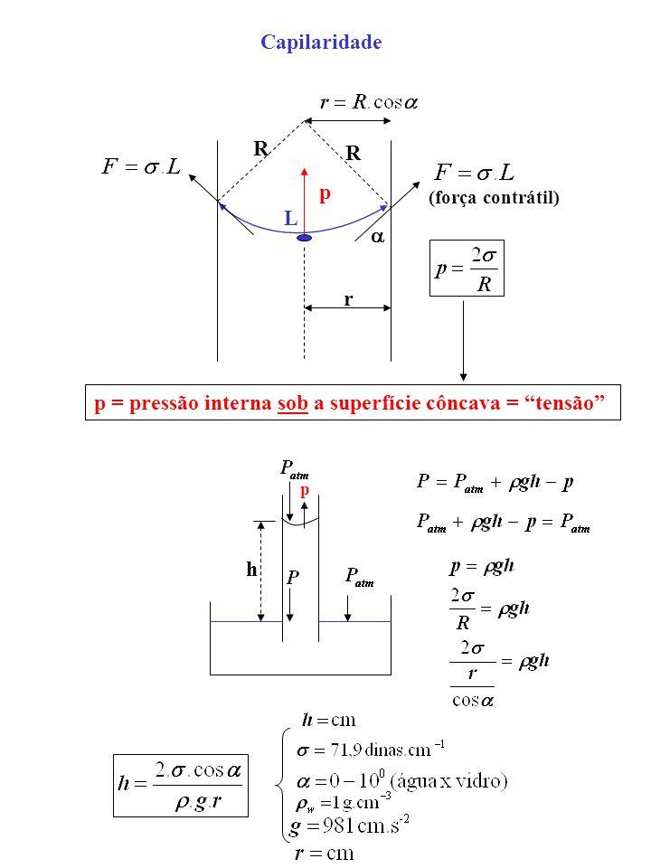 R R r L p p = pressão interna sob a superfície côncava = tensão h Capilaridade (força contrátil) p