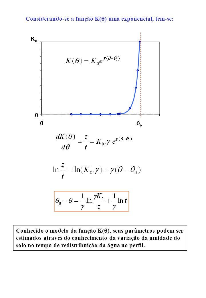 Considerando-se a função K( ) uma exponencial, tem-se: 0 KoKo 0 o Conhecido o modelo da função K( ), seus parâmetros podem ser estimados através do co