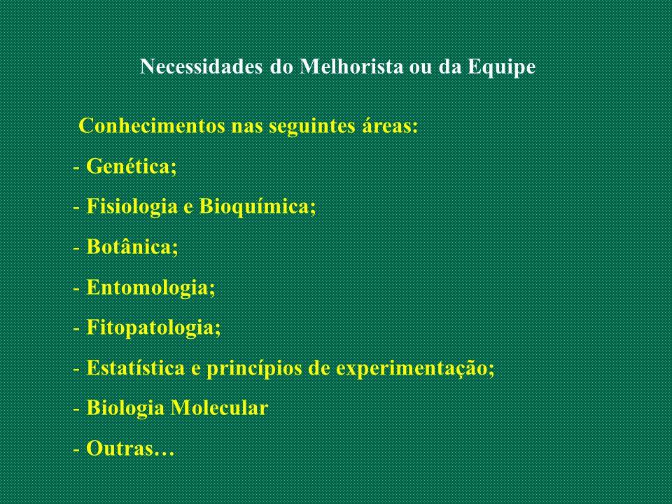 Conhecimentos nas seguintes áreas: - Genética; - Fisiologia e Bioquímica; - Botânica; - Entomologia; - Fitopatologia; - Estatística e princípios de ex
