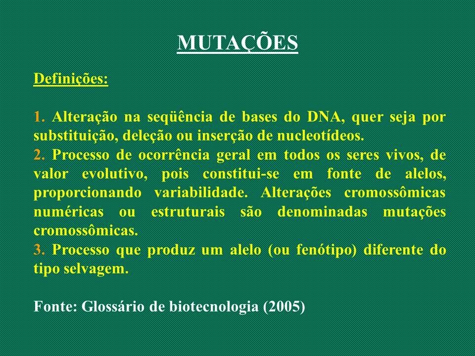 MUTAÇÕES Definições: 1. Alteração na seqüência de bases do DNA, quer seja por substituição, deleção ou inserção de nucleotídeos. 2. Processo de ocorrê