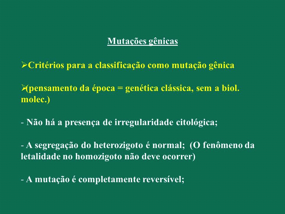Mutações gênicas Critérios para a classificação como mutação gênica (pensamento da época = genética clássica, sem a biol. molec.) - Não há a presença