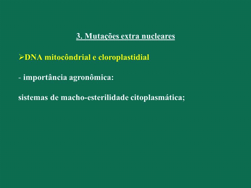 3. Mutações extra nucleares DNA mitocôndrial e cloroplastidial - importância agronômica: sistemas de macho-esterilidade citoplasmática;