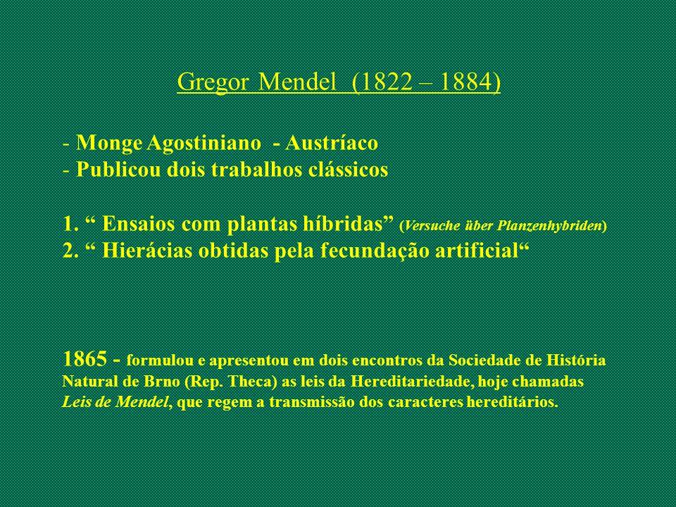 Gregor Mendel (1822 – 1884) - Monge Agostiniano - Austríaco - Publicou dois trabalhos clássicos 1. Ensaios com plantas híbridas (Versuche über Planzen