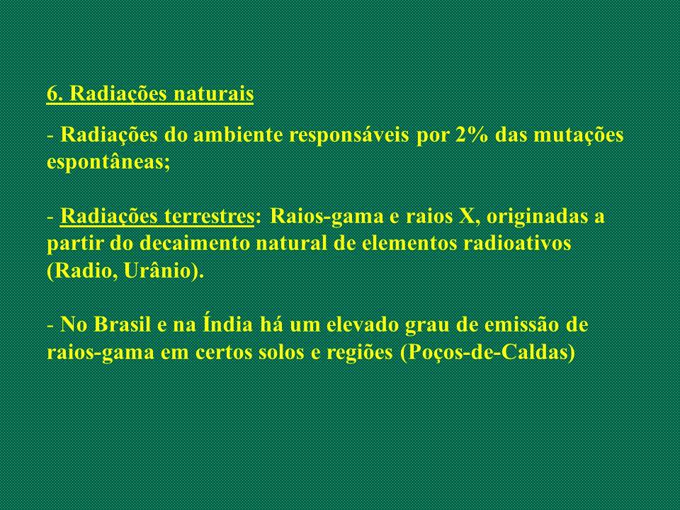 6. Radiações naturais - Radiações do ambiente responsáveis por 2% das mutações espontâneas; - Radiações terrestres: Raios-gama e raios X, originadas a