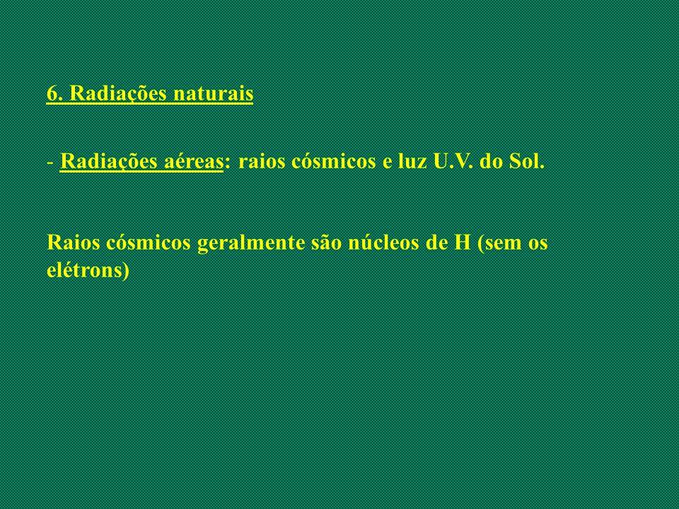 6. Radiações naturais - Radiações aéreas: raios cósmicos e luz U.V. do Sol. Raios cósmicos geralmente são núcleos de H (sem os elétrons)