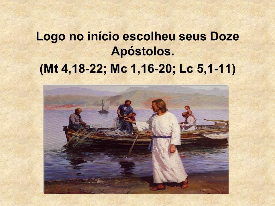 Logo no início escolheu seus Doze Apóstolos. (Mt 4,18-22; Mc 1,16-20; Lc 5,1-11)