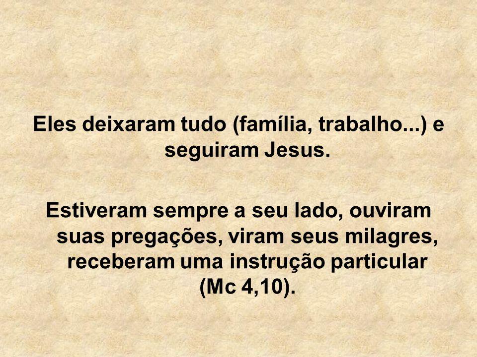 Eles deixaram tudo (família, trabalho...) e seguiram Jesus. Estiveram sempre a seu lado, ouviram suas pregações, viram seus milagres, receberam uma in