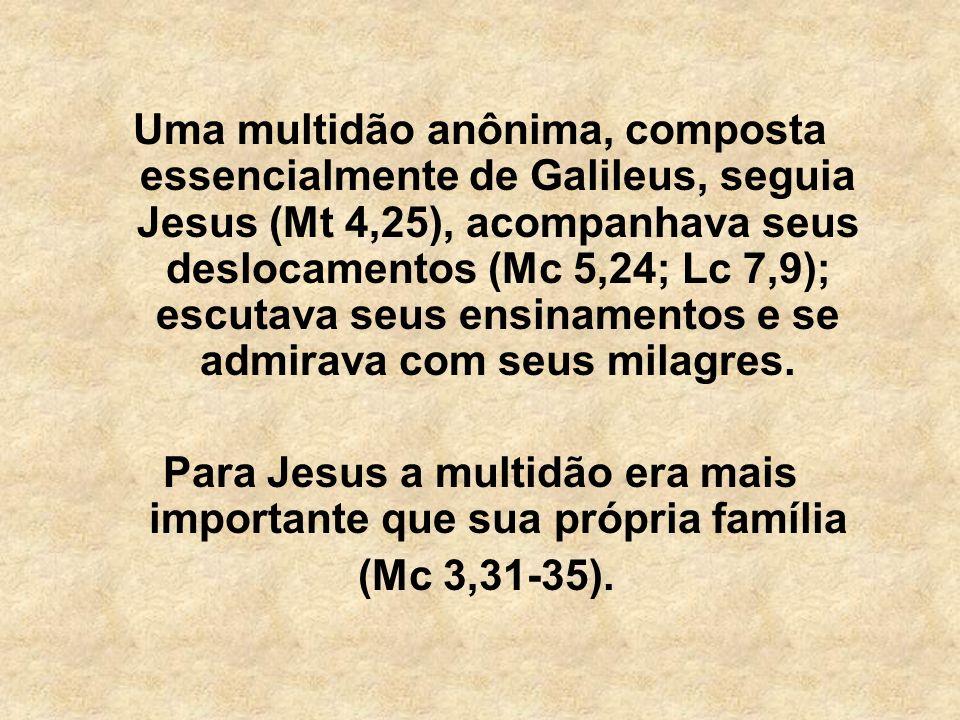 Uma multidão anônima, composta essencialmente de Galileus, seguia Jesus (Mt 4,25), acompanhava seus deslocamentos (Mc 5,24; Lc 7,9); escutava seus ens