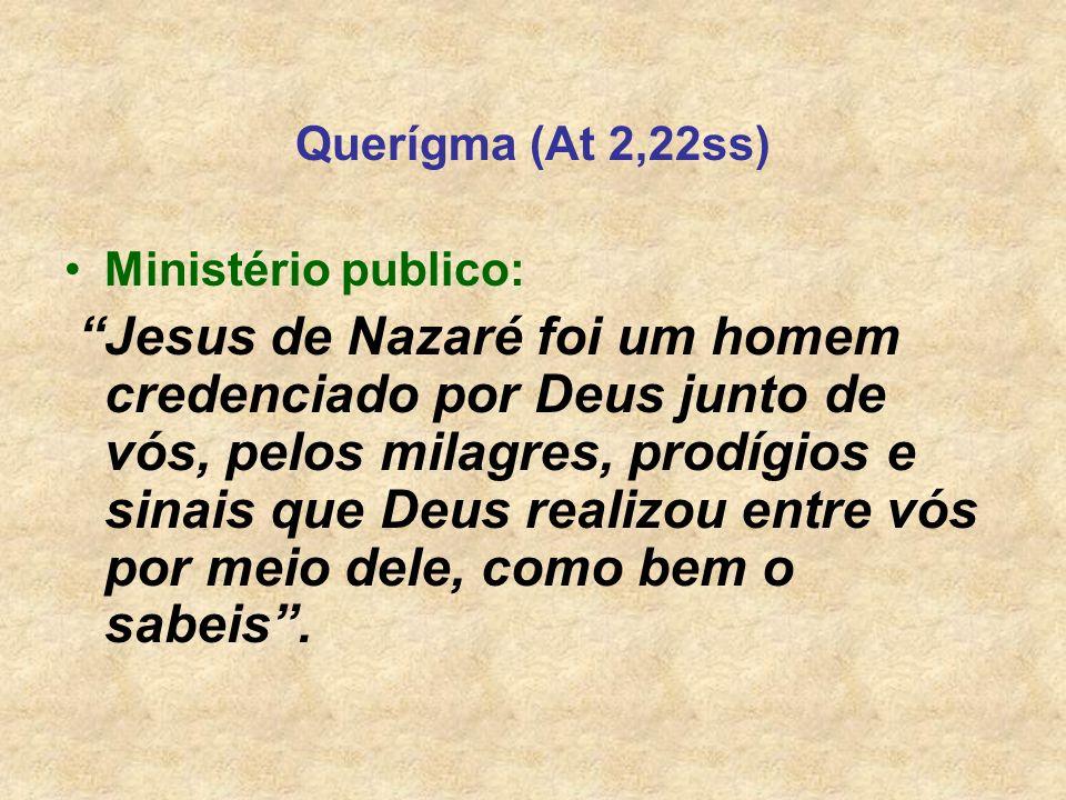 Querígma (At 2,22ss) Ministério publico: Jesus de Nazaré foi um homem credenciado por Deus junto de vós, pelos milagres, prodígios e sinais que Deus r