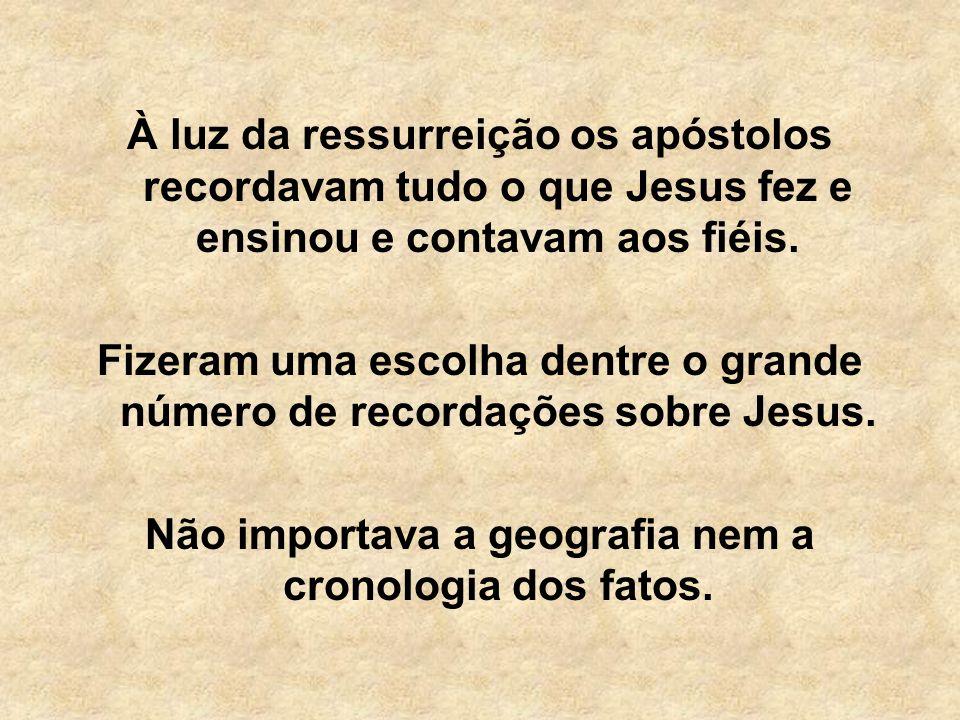 À luz da ressurreição os apóstolos recordavam tudo o que Jesus fez e ensinou e contavam aos fiéis. Fizeram uma escolha dentre o grande número de recor