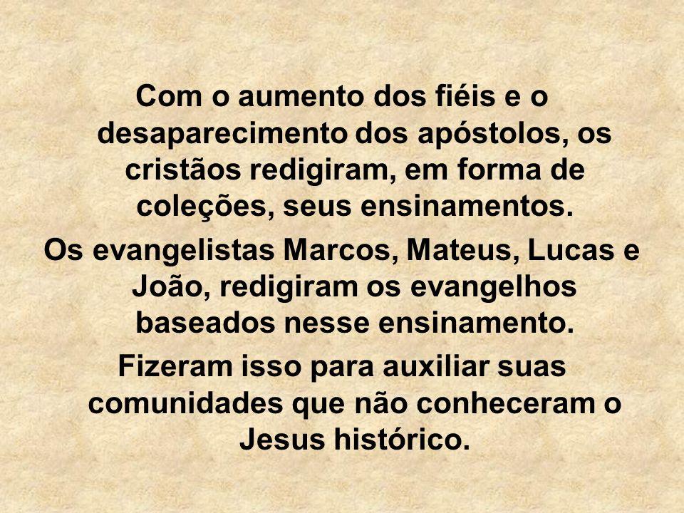 Com o aumento dos fiéis e o desaparecimento dos apóstolos, os cristãos redigiram, em forma de coleções, seus ensinamentos. Os evangelistas Marcos, Mat