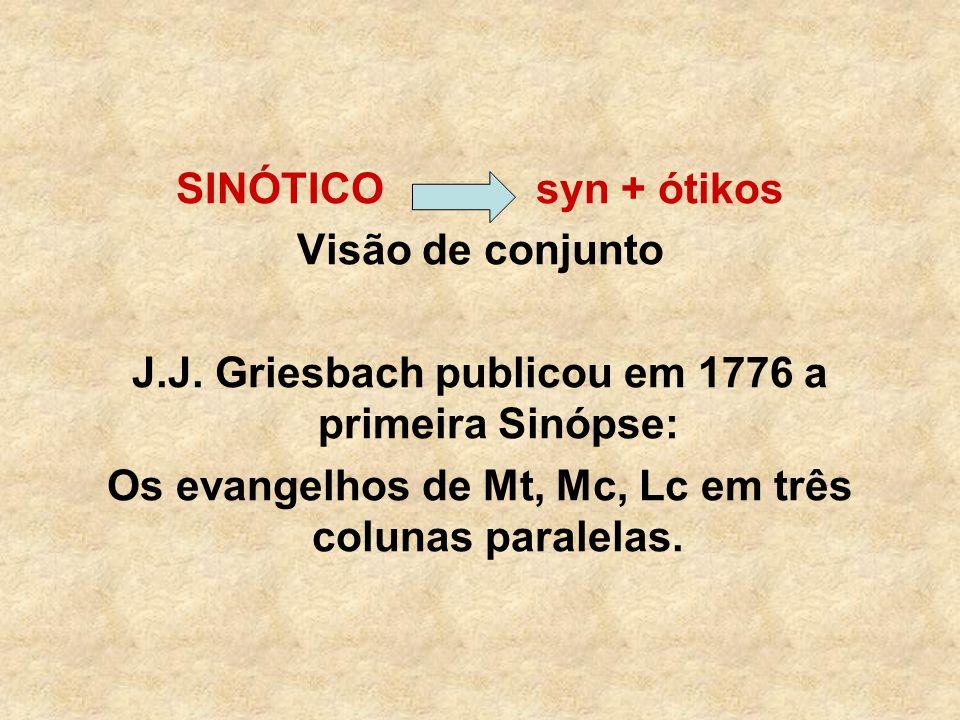 SINÓTICO syn + ótikos Visão de conjunto J.J. Griesbach publicou em 1776 a primeira Sinópse: Os evangelhos de Mt, Mc, Lc em três colunas paralelas.
