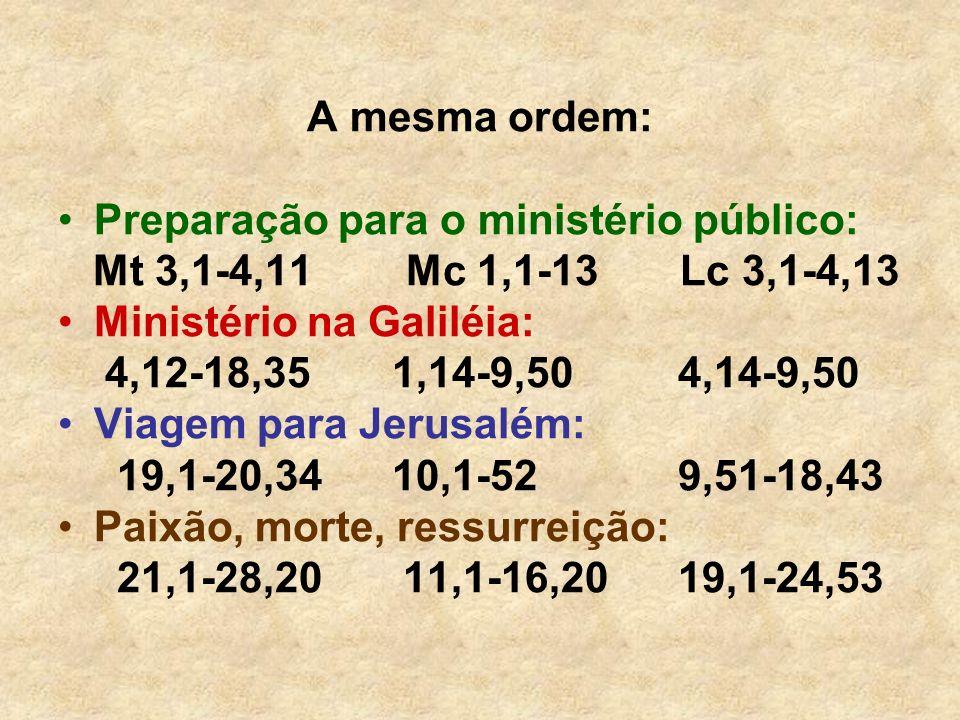 A mesma ordem: Preparação para o ministério público: Mt 3,1-4,11 Mc 1,1-13 Lc 3,1-4,13 Ministério na Galiléia: 4,12-18,35 1,14-9,50 4,14-9,50 Viagem p