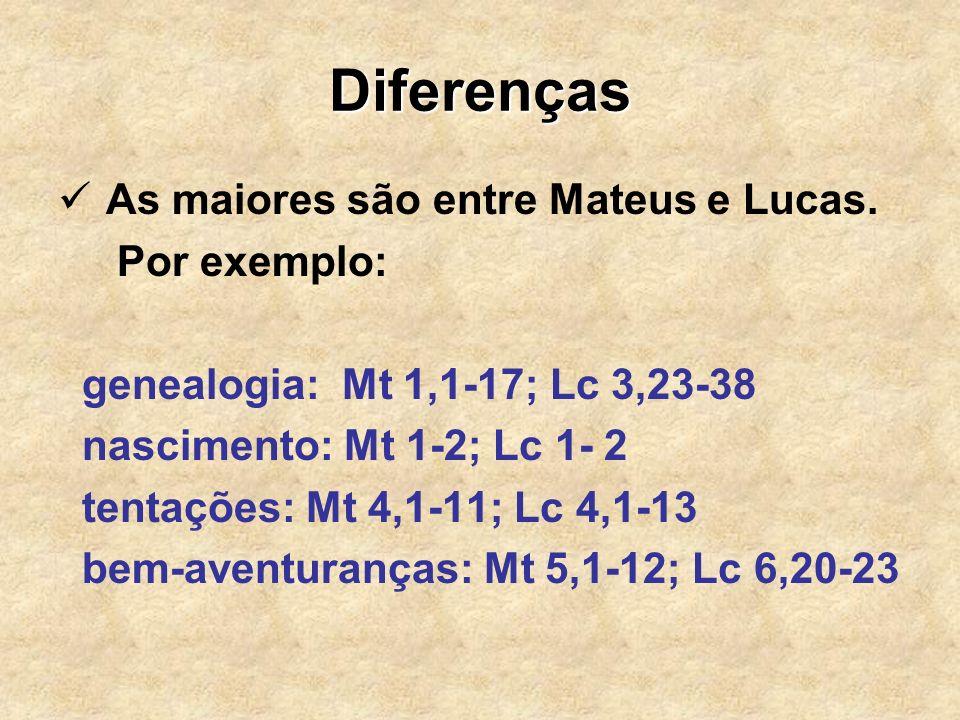 Diferenças As maiores são entre Mateus e Lucas. Por exemplo: genealogia: Mt 1,1-17; Lc 3,23-38 nascimento: Mt 1-2; Lc 1- 2 tentações: Mt 4,1-11; Lc 4,