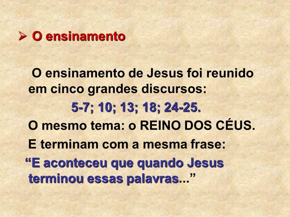 O ensinamento O ensinamento O ensinamento de Jesus foi reunido em cinco grandes discursos: 5-7; 10; 13; 18; 24-25. O mesmo tema: o REINO DOS CÉUS. E t