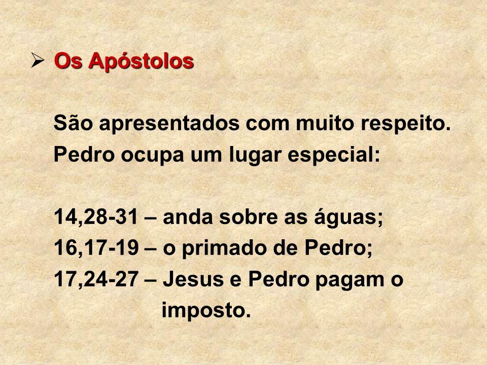 Os Apóstolos São apresentados com muito respeito. Pedro ocupa um lugar especial: 14,28-31 – anda sobre as águas; 16,17-19 – o primado de Pedro; 17,24-