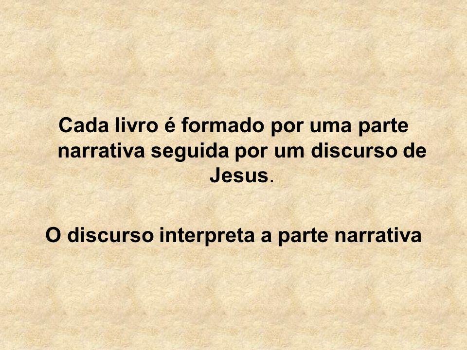 Cada livro é formado por uma parte narrativa seguida por um discurso de Jesus. O discurso interpreta a parte narrativa
