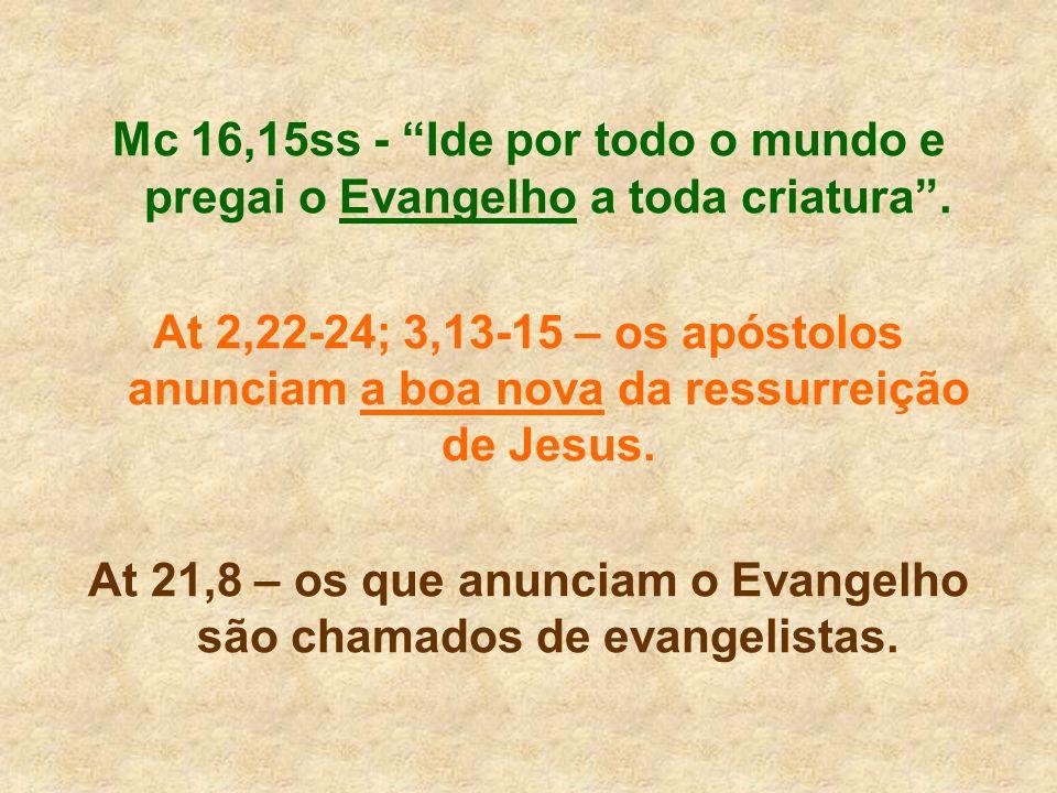 Mc 16,15ss - Ide por todo o mundo e pregai o Evangelho a toda criatura. At 2,22-24; 3,13-15 – os apóstolos anunciam a boa nova da ressurreição de Jesu