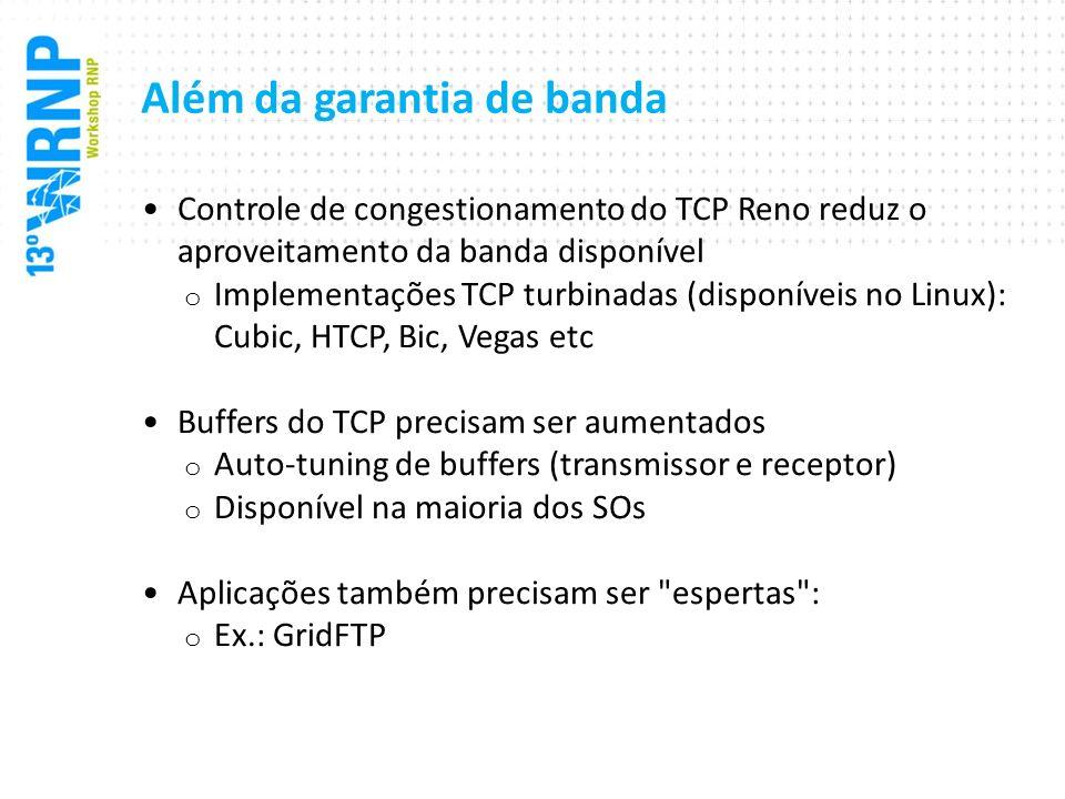 Além da garantia de banda Controle de congestionamento do TCP Reno reduz o aproveitamento da banda disponível o Implementações TCP turbinadas (disponí
