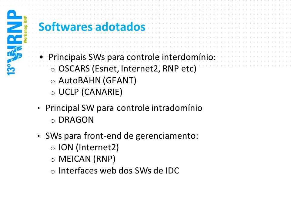 Softwares adotados Principais SWs para controle interdomínio: o OSCARS (Esnet, Internet2, RNP etc) o AutoBAHN (GEANT) o UCLP (CANARIE) Principal SW pa