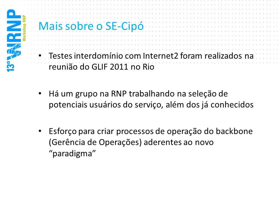 Mais sobre o SE-Cipó Testes interdomínio com Internet2 foram realizados na reunião do GLIF 2011 no Rio Há um grupo na RNP trabalhando na seleção de po
