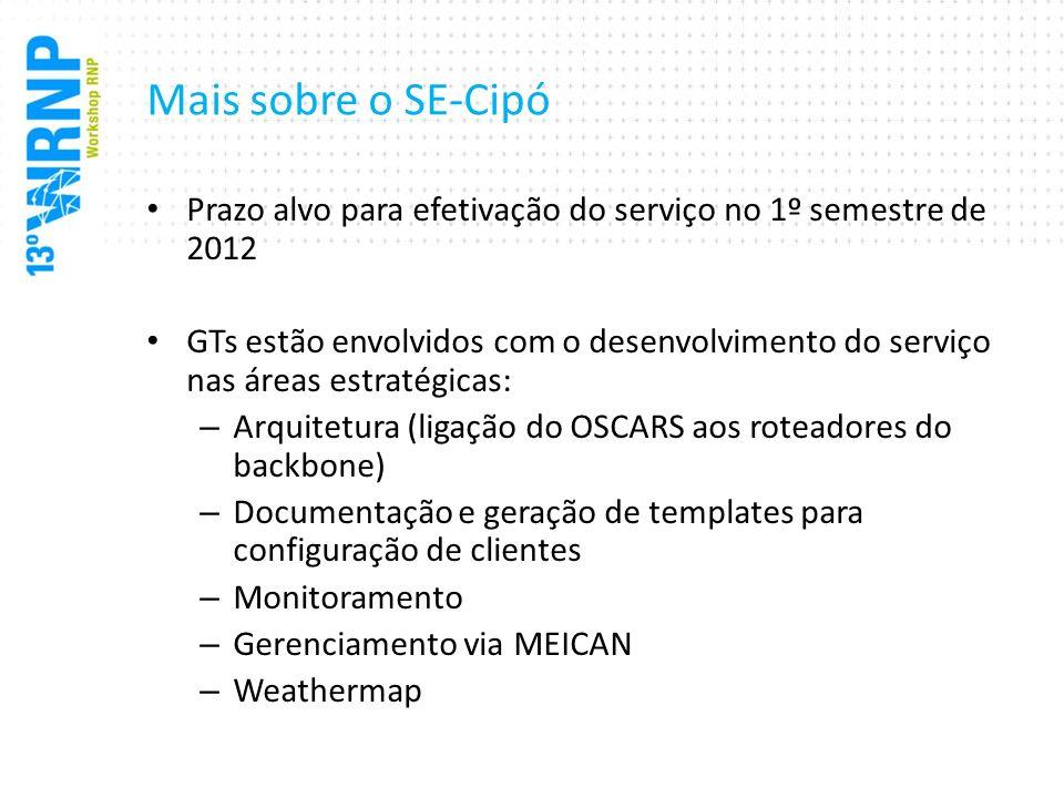 Mais sobre o SE-Cipó Prazo alvo para efetivação do serviço no 1º semestre de 2012 GTs estão envolvidos com o desenvolvimento do serviço nas áreas estr