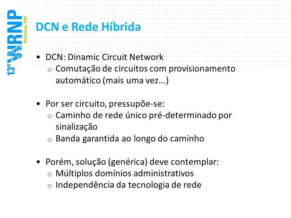 DCN e Rede Híbrida Rede híbrida (para nós): DCN + Rede de pacotes o Garante requisitos de banda fim-a-fim através do provisionamento dinâmico de circuitos Sobre múltiplos domínios, independente da tecnologia de rede usada por cada domínio o Domínio: região sob uma mesma administração de rede Pode ser um AS Pode ser uma rede de campus