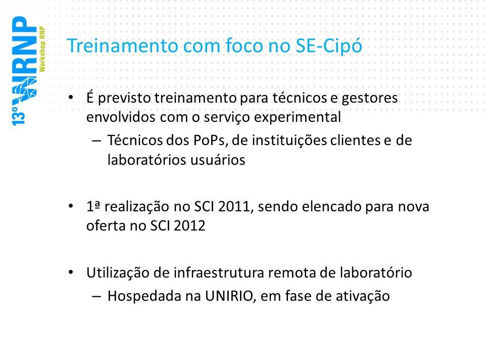 Treinamento com foco no SE-Cipó É previsto treinamento para técnicos e gestores envolvidos com o serviço experimental – Técnicos dos PoPs, de institui