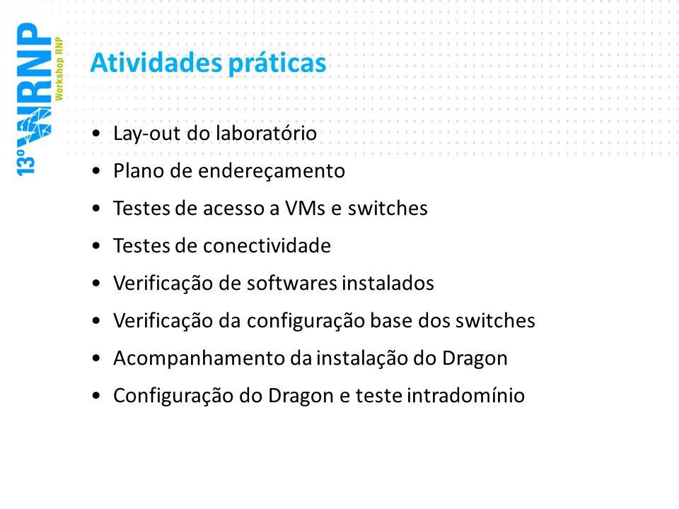Atividades práticas Lay-out do laboratório Plano de endereçamento Testes de acesso a VMs e switches Testes de conectividade Verificação de softwares i