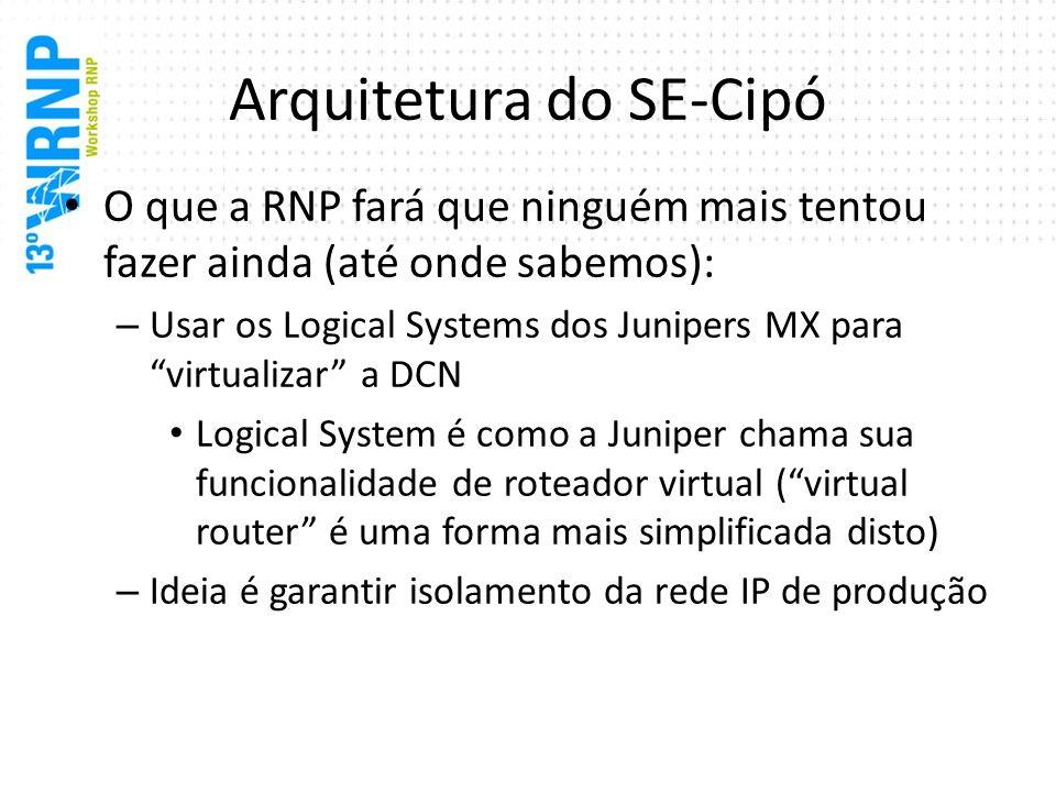 Arquitetura do SE-Cipó O que a RNP fará que ninguém mais tentou fazer ainda (até onde sabemos): – Usar os Logical Systems dos Junipers MX para virtual