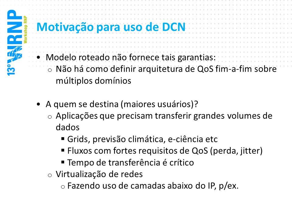 Motivação para uso de DCN Modelo roteado não fornece tais garantias: o Não há como definir arquitetura de QoS fim-a-fim sobre múltiplos domínios A que