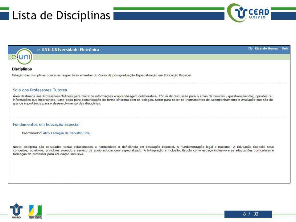 / 32 Lista de Disciplinas 9