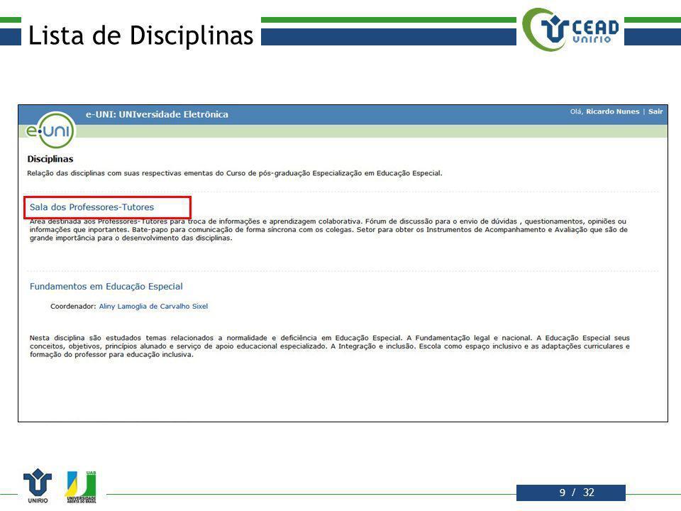 / 32 Lista de Disciplinas 10