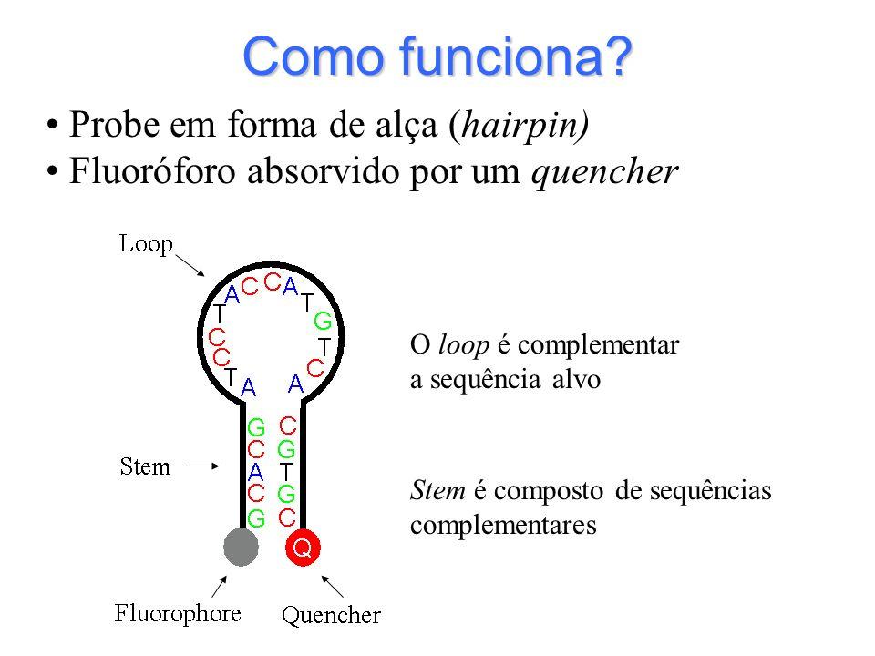 Como funciona? Stem é composto de sequências complementares O loop é complementar a sequência alvo Probe em forma de alça (hairpin) Fluoróforo absorvi