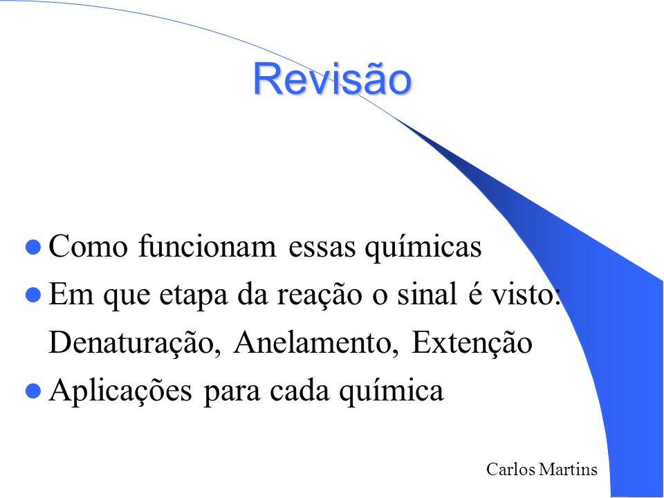 Carlos Martins 2/18/2014 Revisão Como funcionam essas químicas Em que etapa da reação o sinal é visto: Denaturação, Anelamento, Extenção Aplicações pa