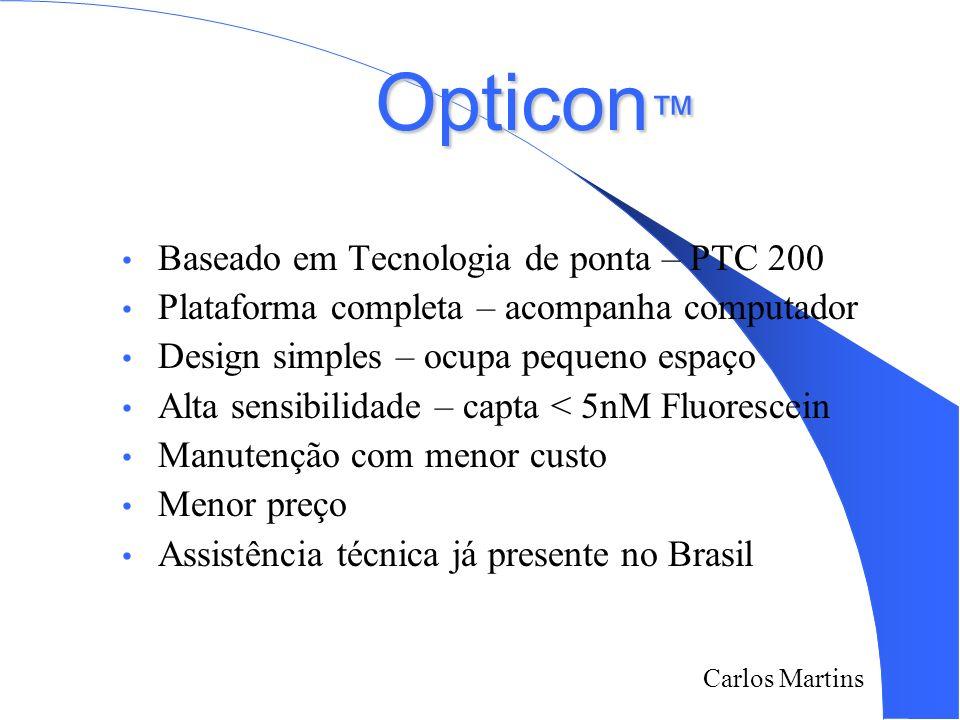 Carlos Martins 2/18/2014 Opticon Opticon Baseado em Tecnologia de ponta – PTC 200 Plataforma completa – acompanha computador Design simples – ocupa pe