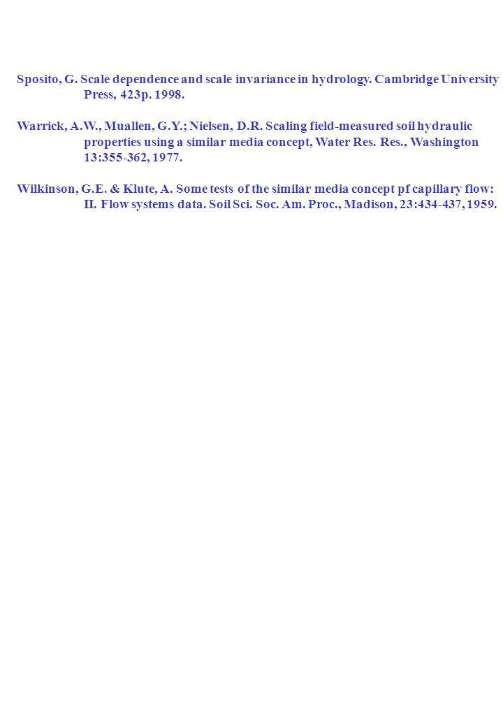 Escalonamento de Propriedades Hídricas de Solos Bibliografia recomendada: Bacchi, O.O.S. Teoria dos fatores de escala na análise comparativa de método