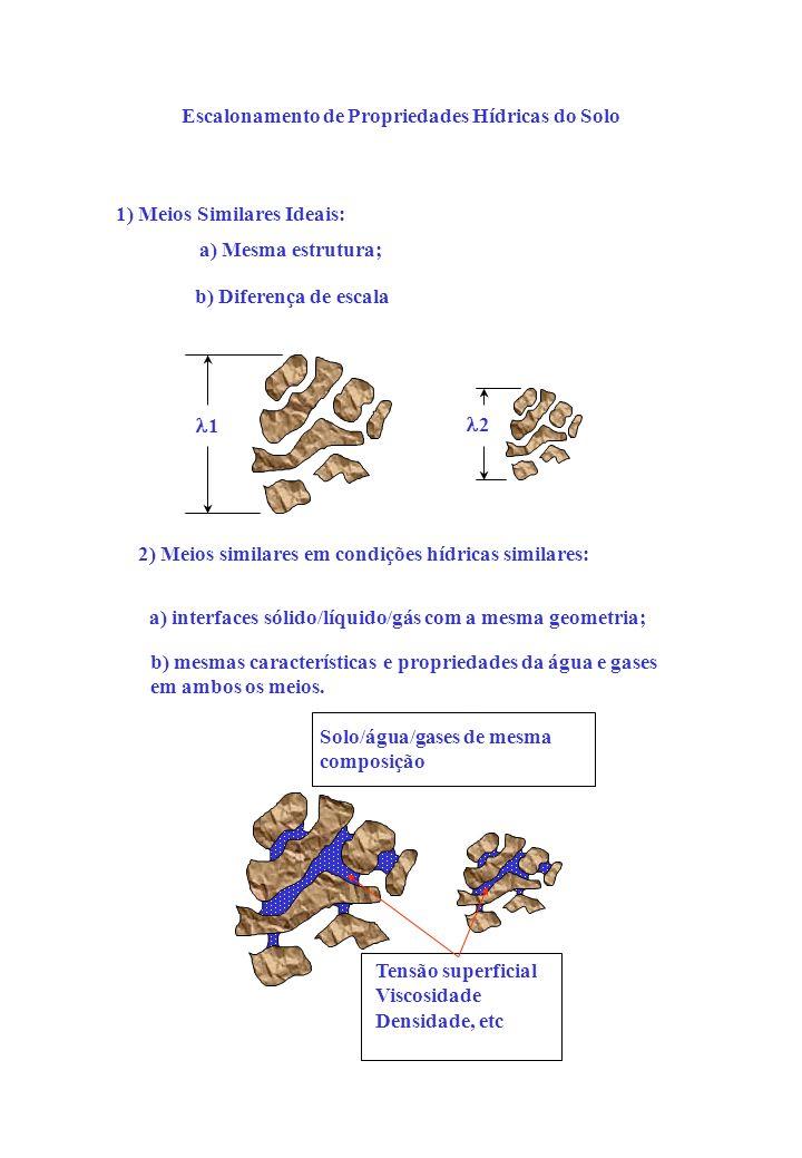 Escalonamento de Propriedades Hídricas do Solo 1) Meios Similares Ideais: a) Mesma estrutura; b) Diferença de escala 2) Meios similares em condições hídricas similares: a) interfaces sólido/líquido/gás com a mesma geometria; b) mesmas características e propriedades da água e gases em ambos os meios.