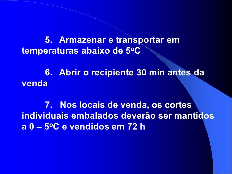 5. Armazenar e transportar em temperaturas abaixo de 5 o C 6. Abrir o recipiente 30 min antes da venda 7. Nos locais de venda, os cortes individuais e