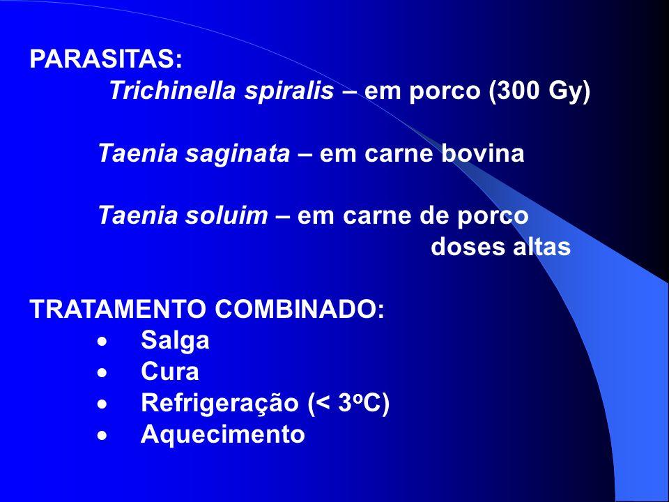 PARASITAS: Trichinella spiralis – em porco (300 Gy) Taenia saginata – em carne bovina Taenia soluim – em carne de porco doses altas TRATAMENTO COMBINA