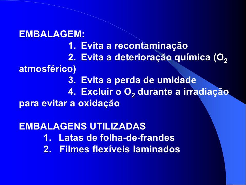 EMBALAGEM: 1. Evita a recontaminação 2. Evita a deterioração química (O 2 atmosférico) 3. Evita a perda de umidade 4. Excluir o O 2 durante a irradiaç