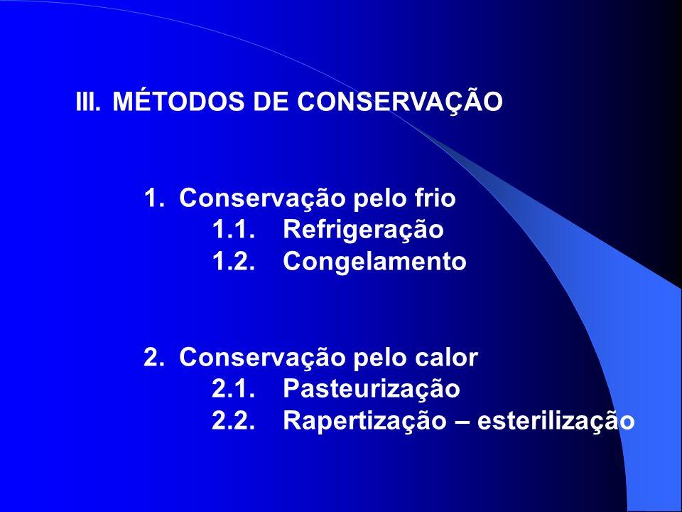 III. MÉTODOS DE CONSERVAÇÃO 1. Conservação pelo frio 1.1. Refrigeração 1.2. Congelamento 2. Conservação pelo calor 2.1. Pasteurização 2.2. Rapertizaçã