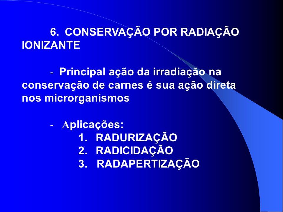 6. CONSERVAÇÃO POR RADIAÇÃO IONIZANTE - Principal ação da irradiação na conservação de carnes é sua ação direta nos microrganismos - A plicações: 1. R
