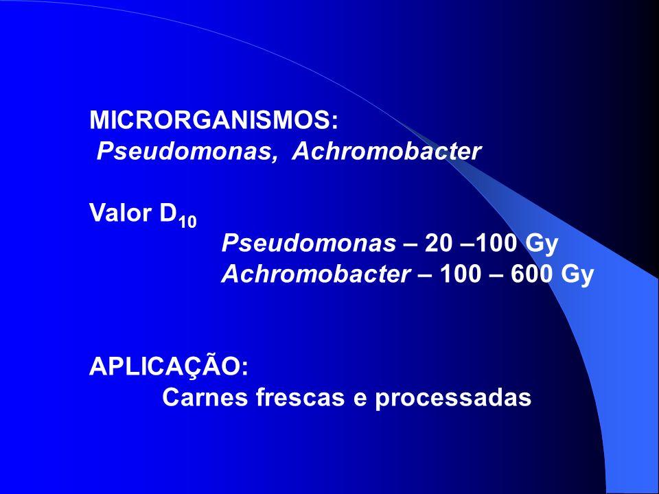 MICRORGANISMOS: Pseudomonas, Achromobacter Valor D 10 Pseudomonas – 20 –100 Gy Achromobacter – 100 – 600 Gy APLICAÇÃO: Carnes frescas e processadas