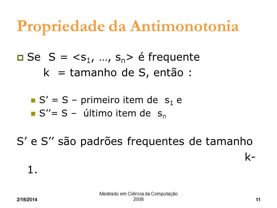 112/18/2014 Mestrado em Ciência da Computação 2008 Propriedade da Antimonotonia Se S = é frequente k = tamanho de S, então : S = S – primeiro item de