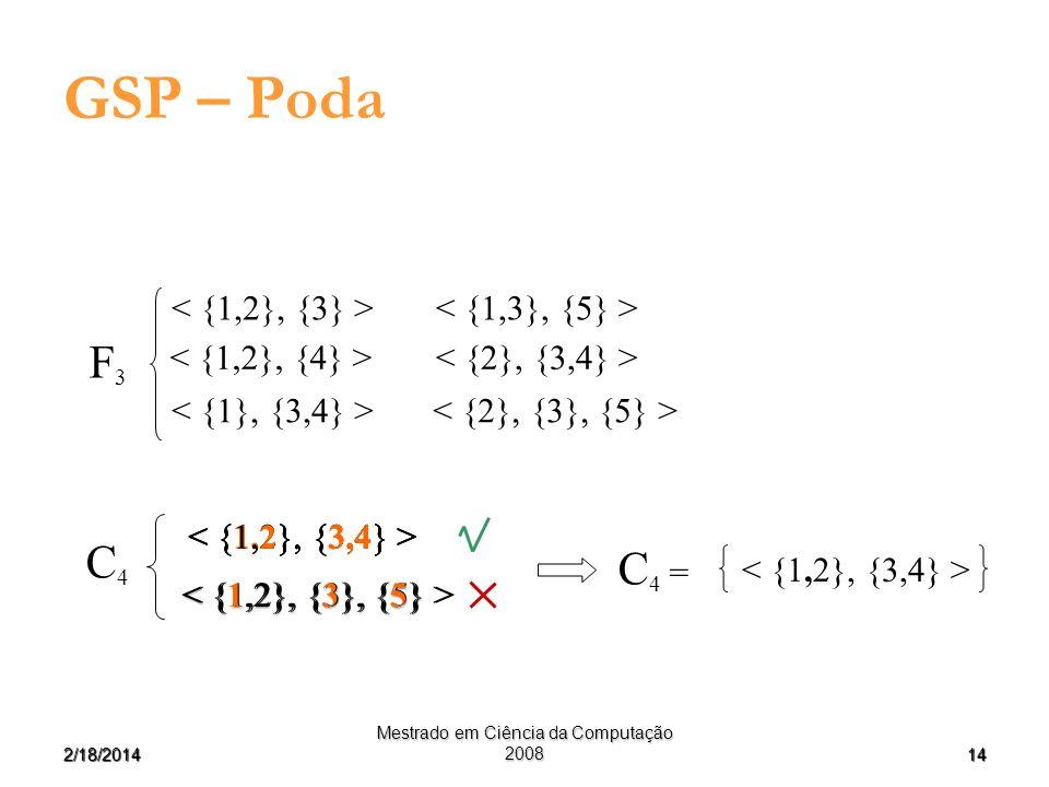 142/18/2014 Mestrado em Ciência da Computação 2008 GSP – Poda F3F3 C4C4 C 4 =