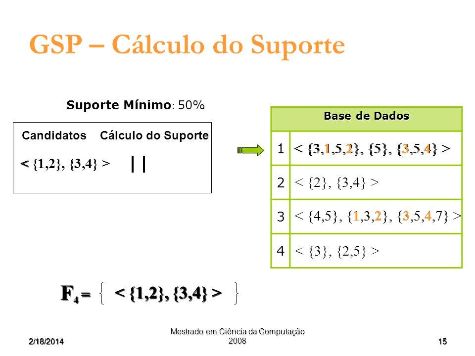 152/18/2014 Mestrado em Ciência da Computação 2008 GSP – Cálculo do Suporte Cálculo do Suporte Candidatos Suporte Mínimo : 50% Base de Dados 1 2 3 4 F