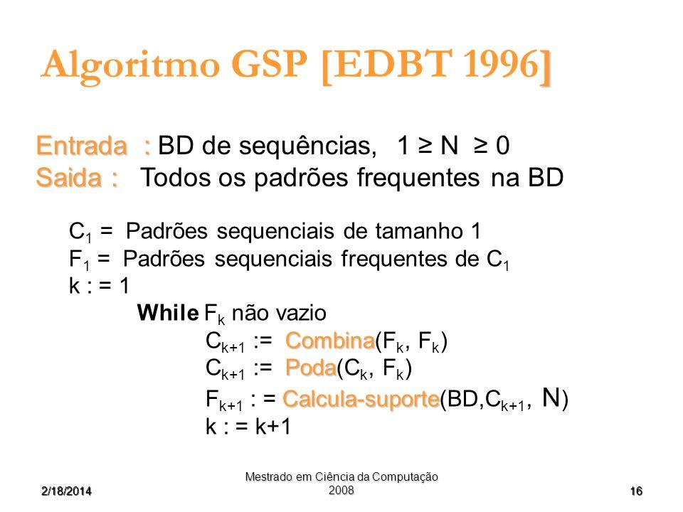 162/18/2014 Mestrado em Ciência da Computação 2008 ] Algoritmo GSP [EDBT 1996] Entrada : Entrada : BD de sequências, 1 N 0 Saida : Saida : Todos os pa
