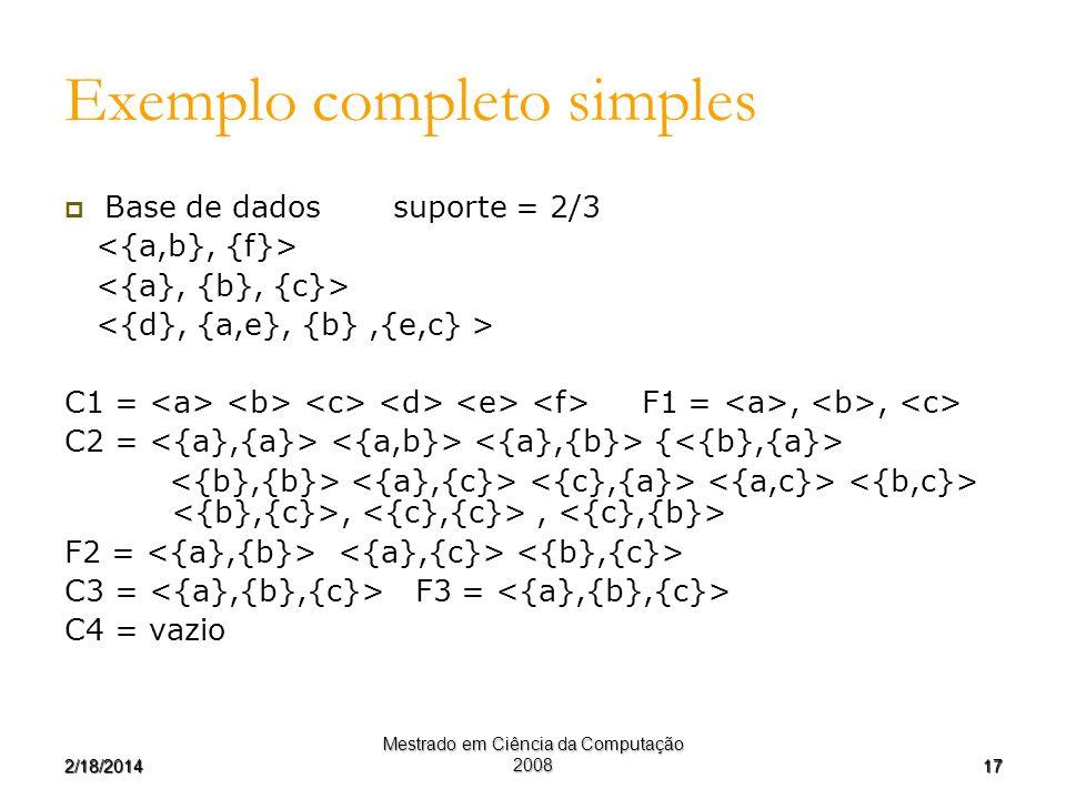 172/18/2014 Mestrado em Ciência da Computação 2008 Exemplo completo simples Base de dados suporte = 2/3 C1 = F1 =,, C2 = {,, F2 = C3 = F3 = C4 = vazio