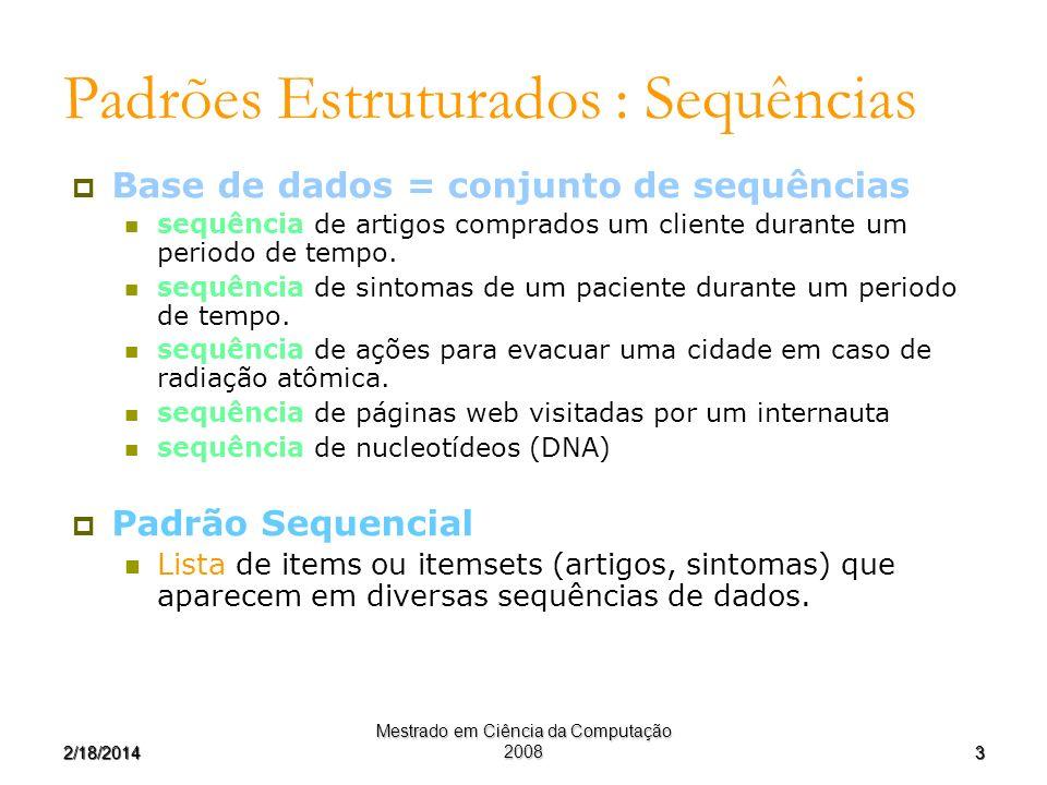 32/18/2014 Mestrado em Ciência da Computação 2008 Padrões Estruturados : Sequências Base de dados = conjunto de sequências sequência de artigos compra
